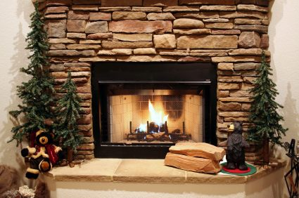 Stone fireplace by Nick's Construction and Masonry LLC
